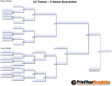 fillable  team  game guarantee tourney bracket