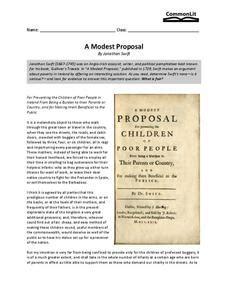 modest proposal worksheet   higher ed lesson