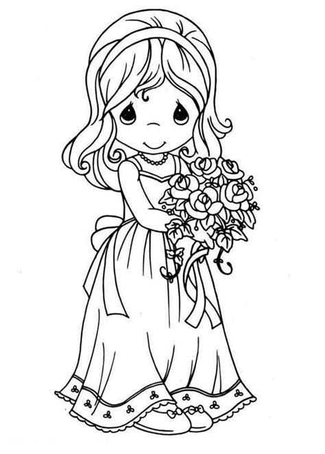 maid  honor precious moments coloring page kids play color
