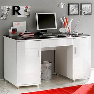 Schreibtisch Weiß Schwarz : schreibtisch luxus in hochglanz wei mit glasplatte in schwarz ebay ~ Buech-reservation.com Haus und Dekorationen