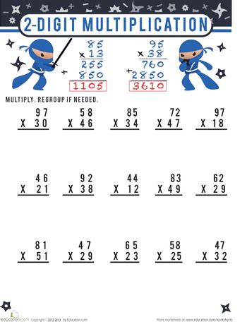 two digit multiplication for 4th grade education