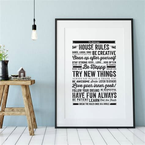 Personalised House Rules Print By Ditsy Chic