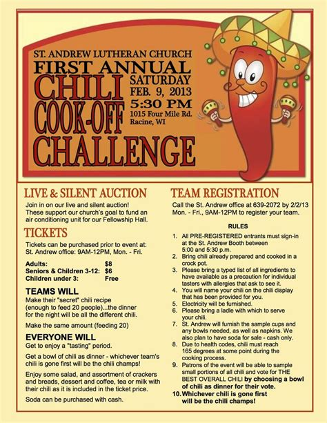 22 best Benefit chili cook off images on Pinterest Chili