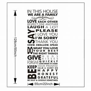 In This House We Are A Family Quote Wall Art Sticker