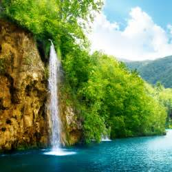 Download Nature Waterfall Lake Trees 2048 x 2048 ...
