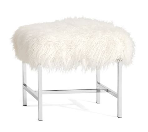 white faux fur stool tavi mongolian faux fur stool pottery barn 1297