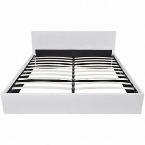 Lit 180 Cm : acheter lit coffre hydraulique 180 cm en cuir synth tique blanc pas cher ~ Teatrodelosmanantiales.com Idées de Décoration