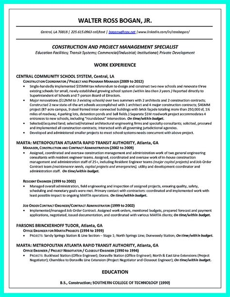 simple construction superintendent resume