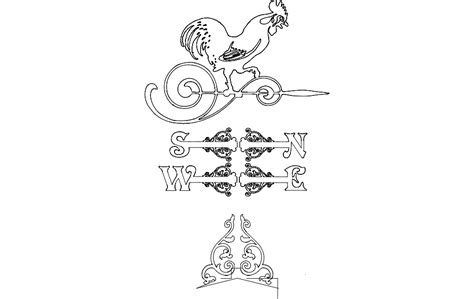 weather vane victorian rooster dxf file