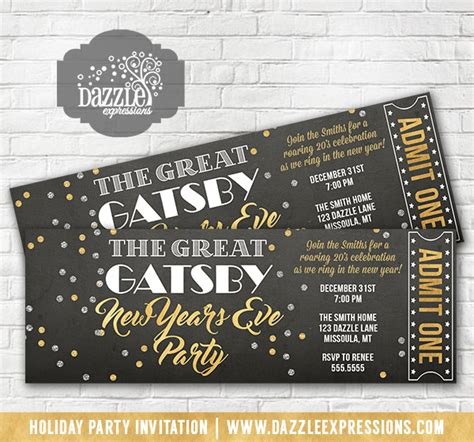 printable great gatsby inspired  years eve party ticket