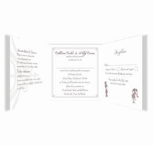 cute couple tri fold wedding invite rsvp loving With folded wedding invitations with rsvp