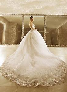 noble ball gown strapless beads cathedral train wedding With wedding dress train