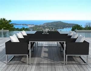 salon de jardin design 1 table 6 fauteuils sur design With salon de jardin moderne