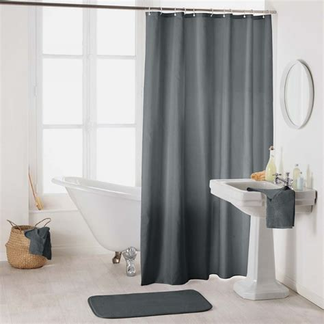 essencia plain shower curtain  hooks charcoal