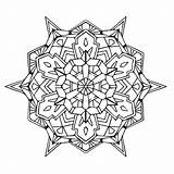 Mandala Coloring Geometric Pages sketch template