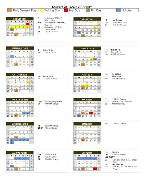 family calendar educare lincoln
