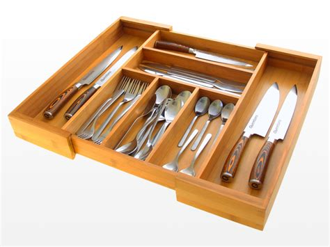 Expandable Flatware And Drawer Organizer  Bamboo Kitchen