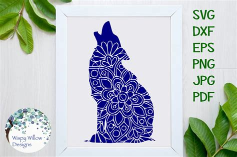 Dxf files in layers eps files in layers. Howling Wolf Floral Mandala SVG/DXF/EPS/PNG/JPG/PDF By ...