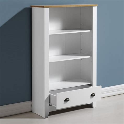 White Oak Bookcase by Gibson Wooden Bookcase In White And Oak With 1 Drawer