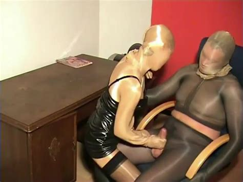 Total Shiny Pantyhose Nylon Encased Couple Office Fetish