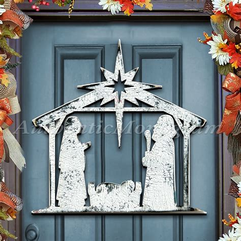 christmas nativity rustic wooden shape   wall door