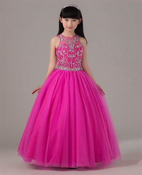 Hot Pink Beaded Pageant Dress For Little Girls Full Skirt Long Tulle Kids Party Gown Birthday ...