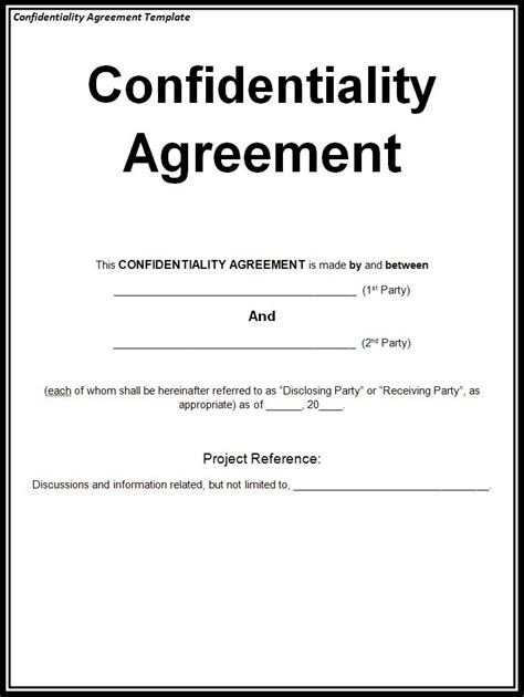 Confidentiality Agreement Template Confidentiality Agreement Sle Free Word S Templates
