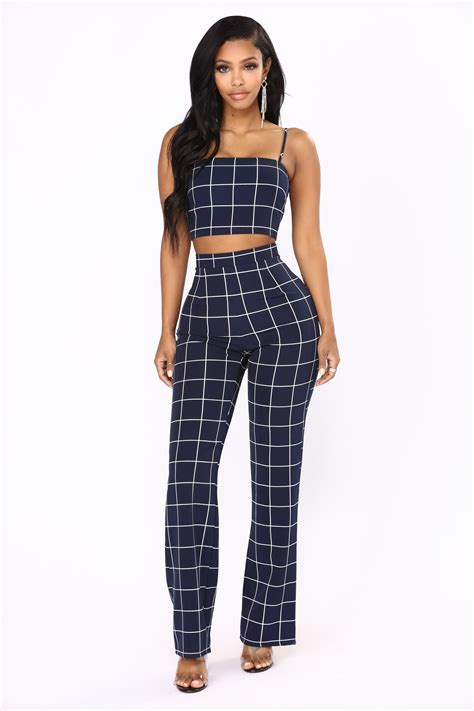 line by line pant set navy white
