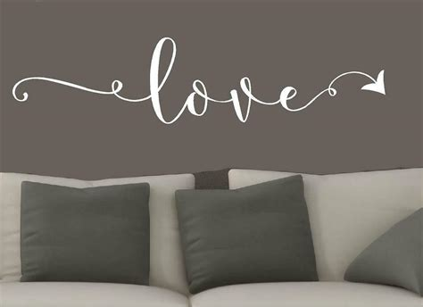 Love wall quote specifics these removable vinyl wall words make a beautiful statement of how vinyl wall art wall decals in this house we vinyl designs wall quotes modern wall decorating tips wall words flower colors. Love Arrow Vinyl wall decals home decor wall words stickers family decal quotes | eBay