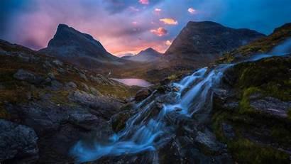 Mountain Sunrise Waterfall Water Pass Mountains Clouds