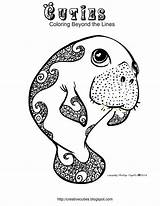 Coloring Cuties Manatee Printable Creative Manatees Adult Animal Colouring Sheets Template Week Inspirational Cutie Foodies Library Clipart Dolphins Clip Sloth sketch template