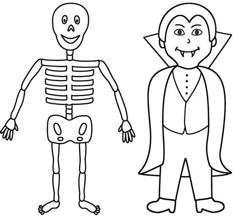 Female Skeleton Coloring Pages