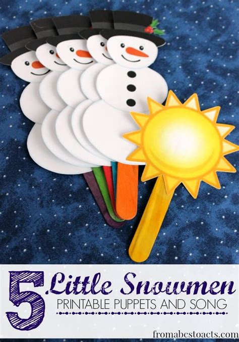 5 snowmen printable puppets and song from abcs 732   5 Little Snowmen puppets and song printable