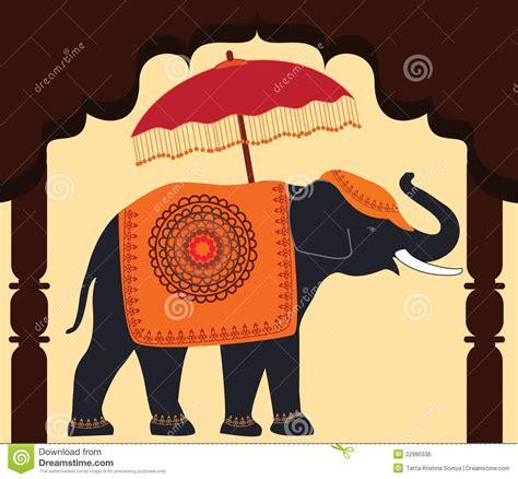 decorated elephant  umbrella  arch stock vector