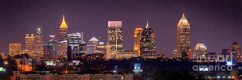 Atlanta Skyline Desktop Wallpaper Atlanta Skyline At Night Downtown Midtown Color Panorama Photograph By Jon Holiday