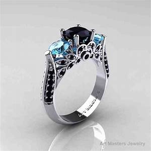 black and blue diamond engagement rings wedding and With blue and black wedding rings