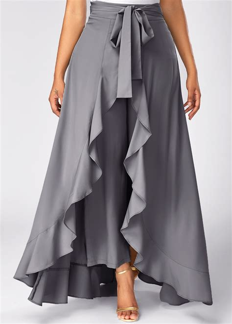 side panel trousers grey side zipper tie front overlay rosewe