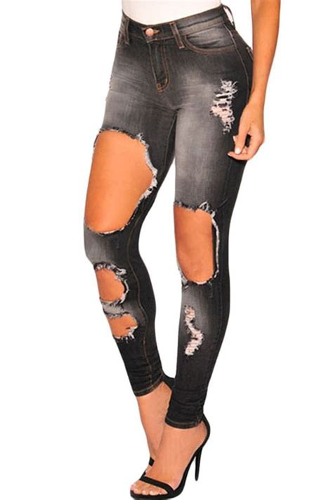 Charcoal Women Chic Skinny Denim Ripped Jeans Online