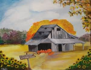 Fall Barn Scenes with Pumpkins