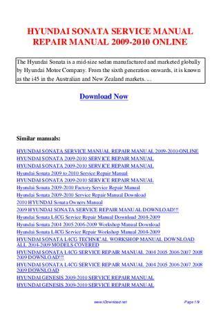 hyundai sonata service manual repair manual