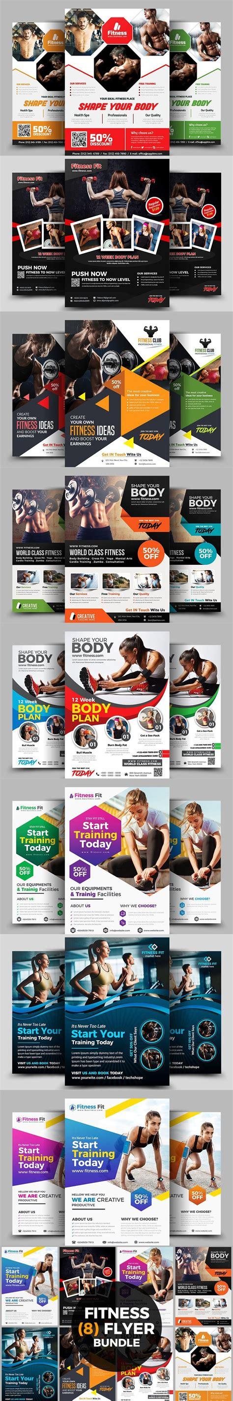 fitness flyer bundle print templates  images