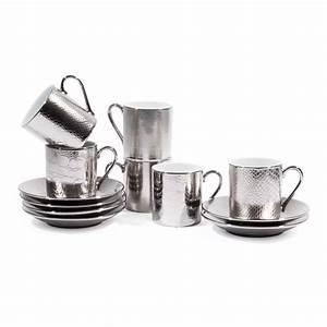 Tasse à Café Maison Du Monde : coffret 6 tasses caf avec soucoupes en porcelaine argent es sauvage maisons du monde ~ Teatrodelosmanantiales.com Idées de Décoration