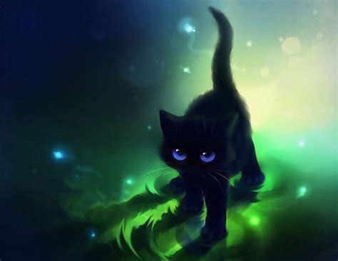 Cat Animated Wallpaper - фото черная нарисованная кошка на ярко зеленом фоне