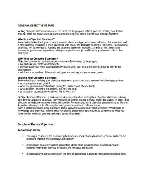 General Resume Objective 18 sle resume objectives pdf doc free premium
