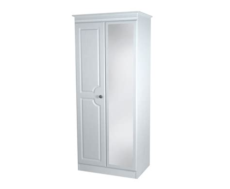 Narrow Mirrored Wardrobe by Snowdon 2 Door Narrow Mirrored Wardrobe White Finishes
