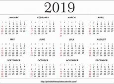 Free Editable Annual Printable Calendar 2019 Templates