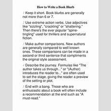 How To Write A Book Blurb By Davidcaddy  Teaching Resources Tes
