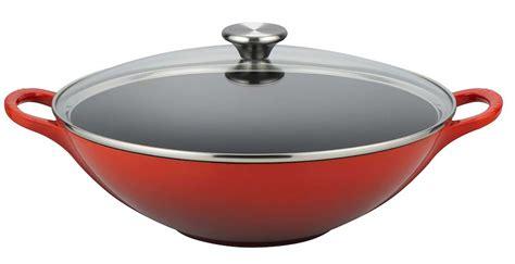 le cuisine le creuset cuisine 32cm cast iron wok and glass lid