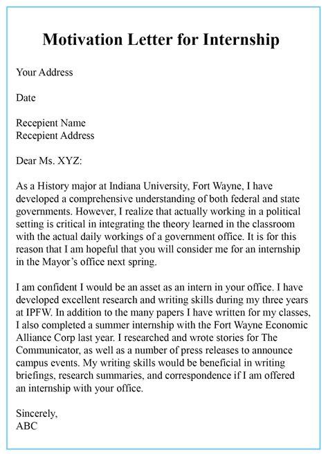 sample motivation letter  internship templates