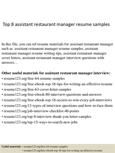 Resume For Assistant Restaurant Manager by Top 8 Assistant Restaurant Manager Resume Sles